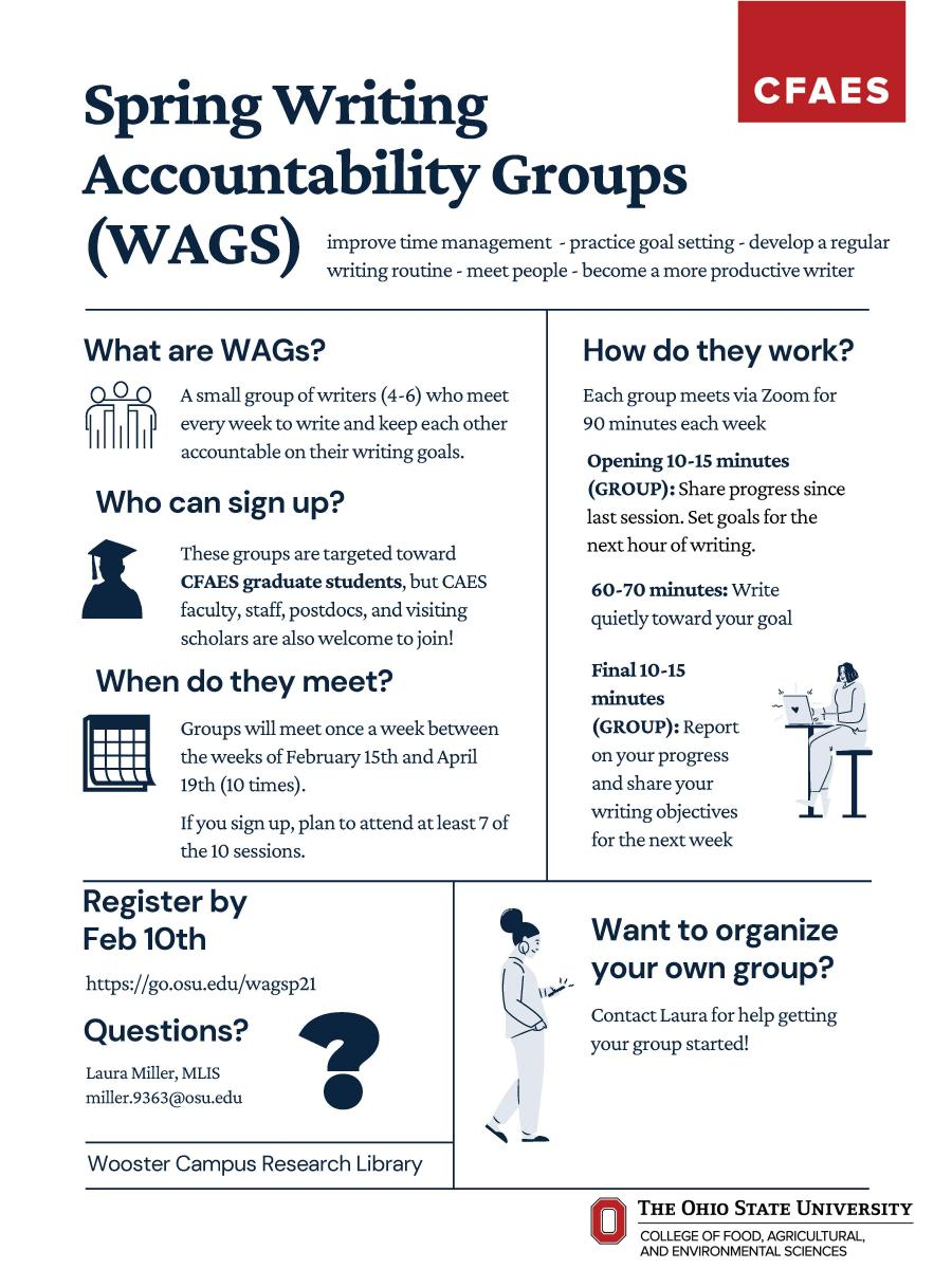 Spring Writing Accountability Groups Flyer with Information